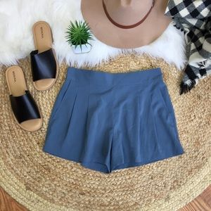 Rubbish Slate Blue Pleated Soft Shorts